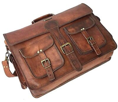 e8caf78df6b1 DHK 18 Inch Vintage Handmade Leather Messenger Bag for Laptop Briefcase Best