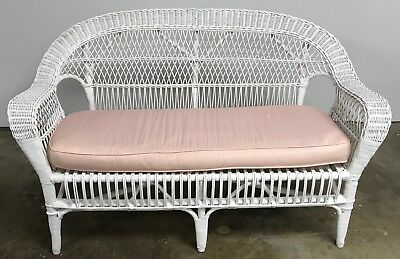 Magnificent Vintage White Rattan Wicker Loveseat Love Seat Bench Outdoor Ocoug Best Dining Table And Chair Ideas Images Ocougorg