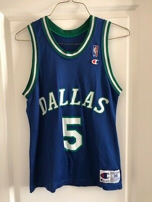 Vintage 1990s Jason Kidd Dallas Mavericks Blue Champion Jersey Size 36 NBA 58850d967