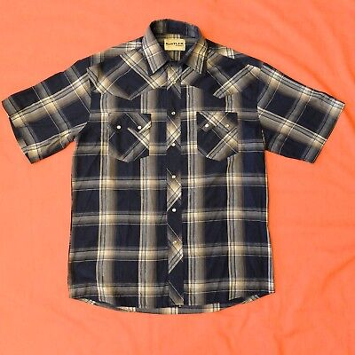 Vintage RUSTLER by WRANGLER Men's Pearl Snap Plaid Western Shirt Size L Sawtooth