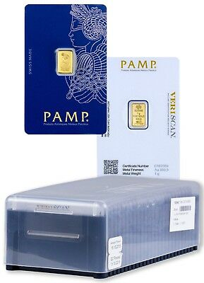 25X 1g PAMP Suisse Fortuna 1g Gold Bar Box .9999 -BRAND NEW & SEALED - FREE P&P
