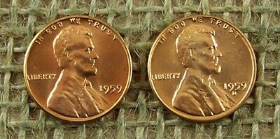 1959 P & D  BU UNCirculated  1st Year Mint Lincoln Memorial Cent         *3380