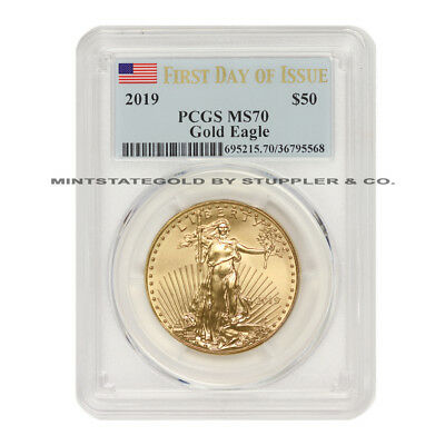 2019 $50 American Gold Eagle PCGS MS70 First Day of Issue FDOI 1oz 22KT coin