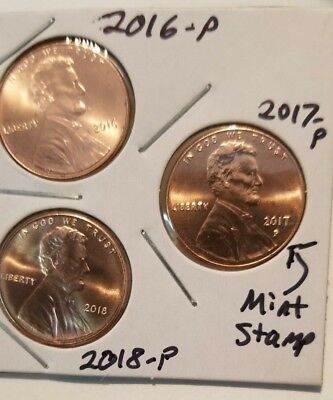 2017 P 2016 P 2018 P LINCOLN PENNY 225th YEAR ANNIVERSARY (3) PC. SET