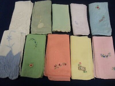 Lot Of 10 Vintage Hankies~Lace Embroidered~Pastel Ladies Handkerchiefs  Ds291