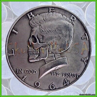1964 Hobo Kennedy Half Dollar & Free Case - Rare Collectible Fantasy Skull Coin