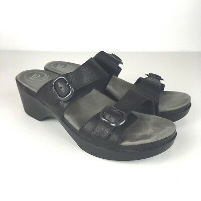 085ae713768 DANSKO Sophie Sandals EU 42   US 11.5-12 Full Grain Black Leather Heeled 2