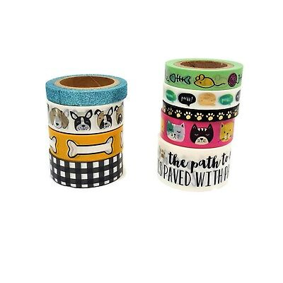 Washi Tape - Tube 9 Rolls Cats and Dog,Paws, Planner Stationary,Scrapbooking