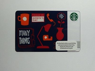 """2013 """"Admin's Day"""" Starbucks Card - New & Never Swiped - Pin Intact -   1st card"""