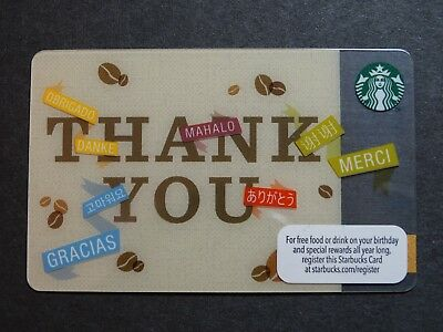 """2013 """"Thank You"""" Starbucks Card - New & Never Swiped - Pin Intact"""