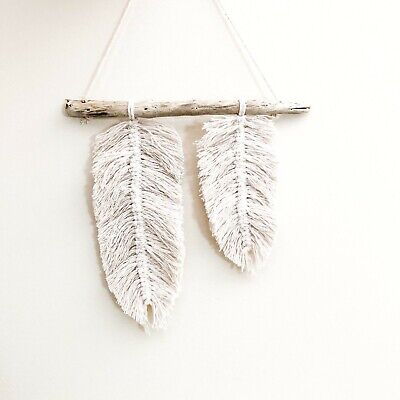 Macrame Feather Wall Hanging Decor Nursery Home Handmade Mobile Baby Gift