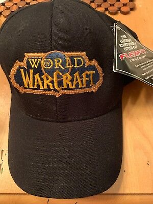 NEW World of Warcraft Black Ball Cap Hat Medium to Small size Flexfit 60ab6810f403