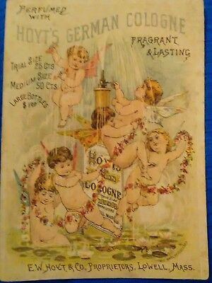 HOYT'S GERMAN Cologne Trade Card ~ Angels Fairies 1880's ~ Portsmouth Ohio