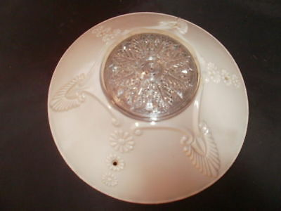 Ornate Heavy Antique Cut Glass Light Pink/coral Light/lamp Shade