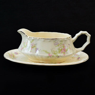 Vintage CROOKSVILLE CHINA CO Spring Blossom Gravy Boat with Drip Plate Saucer