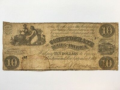 1861 Confederate States of America $10 Ten Dollar Bill Civil War Currency Note
