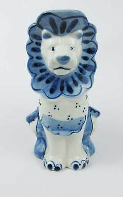 Vintage Gzhel Russia USSR Handpainted Blue And White Lion Creamer Pitcher