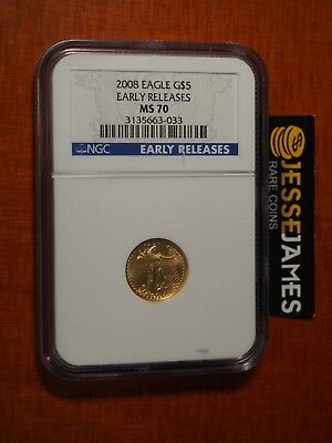 2008 $5 American Gold Eagle Ngc Ms70 Early Releases Blue Label