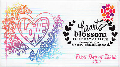 19-005, 2019, Hearts Blossom, Pictorial  Postmark, First Day Cover, Love