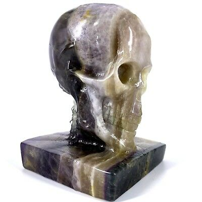 1356g Hand Carved Natural Quartz Fluorite Crystal Skull, Realistic,Healing XE414
