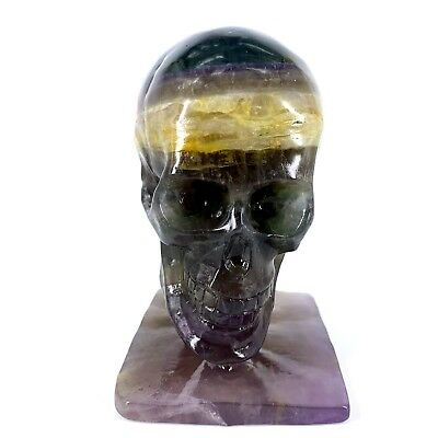 1236g Hand Carved Natural Quartz Fluorite Crystal Skull, Realistic,Healing XE410