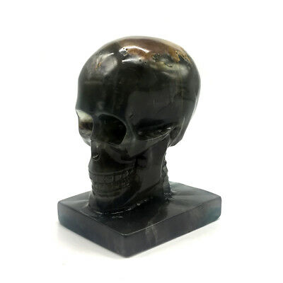 1352g Hand Carved Natural Quartz Fluorite Crystal Skull, Realistic,Healing XE422