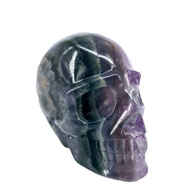 779g Hand Carved Natural Quartz Fluorite Crystal Skull, Realistic,Healing XE377