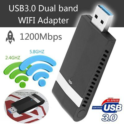 Wireless WiFi 802.11ac 2.4/5GHz 1200Mbps USB3.0 Adapter Dual Band Network Dongle