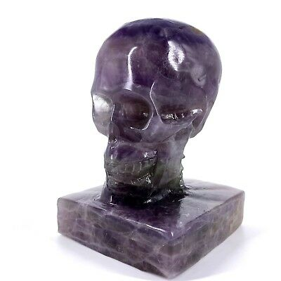 1489g Hand Carved Natural Quartz Fluorite Crystal Skull, Realistic,Healing XE396