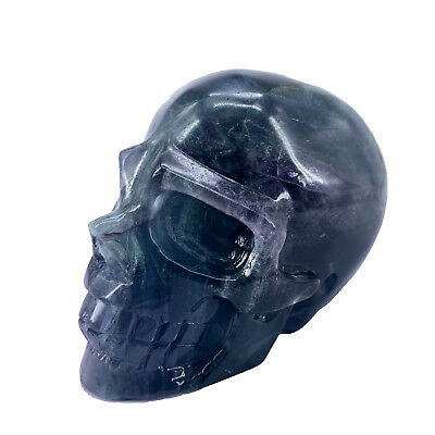 "Hand Carved 4.33"" Natural Quartz Fluorite Crystal Skull, Realistic,Healing XE369"
