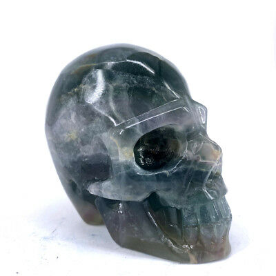 "Hand Carved 3.54"" Natural Quartz Fluorite Crystal Skull, Realistic,Healing XE372"