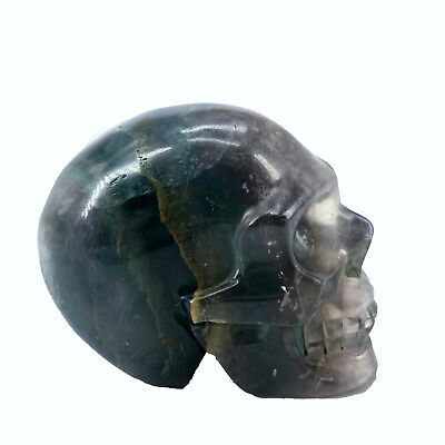 "Hand Carved 2.76"" Natural Quartz Fluorite Crystal Skull, Realistic,Healing WE495"