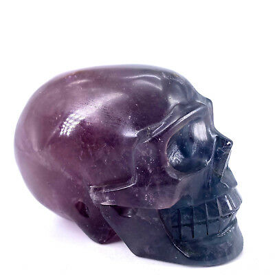 "Hand Carved 4.72"" Natural Quartz Fluorite Crystal Skull, Realistic,Healing WE494"