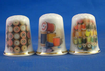 Fine Porcelain China Thimbles - Set Of  Three Sewing Reels