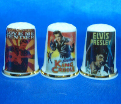 Birchcroft Porcelain China Thimbles - Set Of Three Elvis Movie Posters