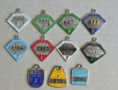 11 Different Years 1960s & 70s Sydney Cricket Ground Members Badges