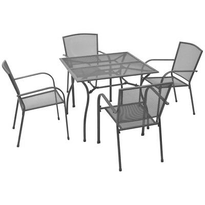 10274530beac Outdoor Steel Mesh Dining Set 4 Seater Garden Furniture Patio Table Chair  Seat