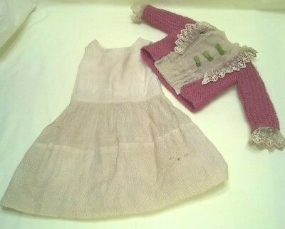 Antique 3 Piece Doll Outfit Victorian Lace Bisque Head German French Doll $44.44