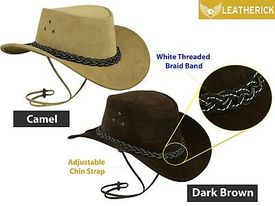 Real Leather Cowboy Hat Western Australian Style Wide Brim Bush Outback Hat AUS