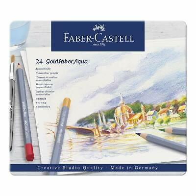 Faber-Castell 24 Goldfaber Aqua Watercolour Pencils in Metal Tin New Sealed