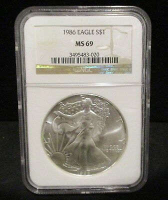 1986 American Silver Eagle NGC MS 69 First Year of Issue - 020       ENN COINS