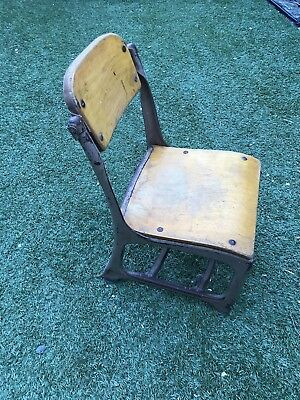 Vintage American School Chair Wooden With Metal Frame
