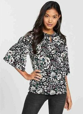 Size 12 Uk New V By Very Floral Print Tiered Detail Top Tshirt Blouse Black