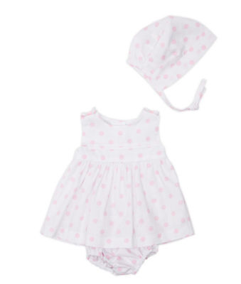 Baby Girls Spanish Designed White/Pink Spotty Dress Pants Bonnet *Very Small Fit