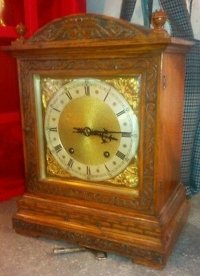 Antique bracket clock, winterhalder and hofmeier, oak case , serviced,