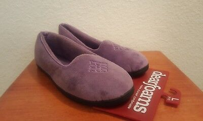 dbcc55550dce NWT DEARFOAMS Purple Womens Microfiber Velour Closed Back Slippers Size L  9-10