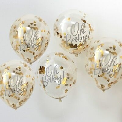 OH BABY! PRINTED GOLD CONFETTI BALLOONS-Baby Shower,Gender Reveal,Party Deco
