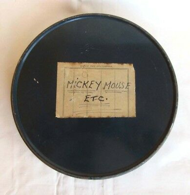 9.5mm CINE FILM - PATHESCOPE - MICKEY MOUSE ON WITH THE SHOW c/w METAL FILM TIN