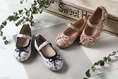 Girls' Ribbon Bow Mary Jane Floral Ballerina Flats Shoes (Toddler/Little Kid)