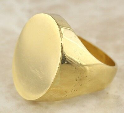 Secondhand 18ct Yellow Gold Heavy (24.6g) Oval Signet Ring Size O 1/2
